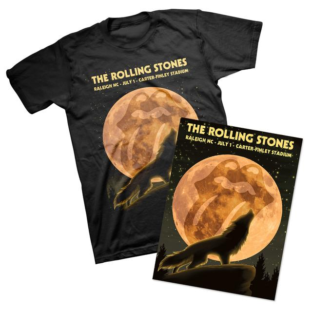 Rolling Stones Raleigh Event T-Shirt & Litho Bundle
