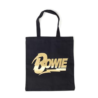 David Bowie Gold Bowie Text Black Tote Bag