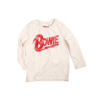 David Bowie Bowie Red Logo Tan Longsleeve Kids T-shirt