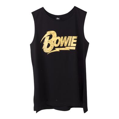 David Bowie Bowie Gold Text Tank Top