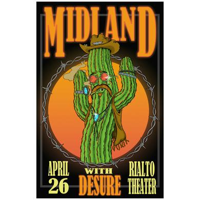 Midland Rialto Theatre Dancing Cactus Signed Lithograph