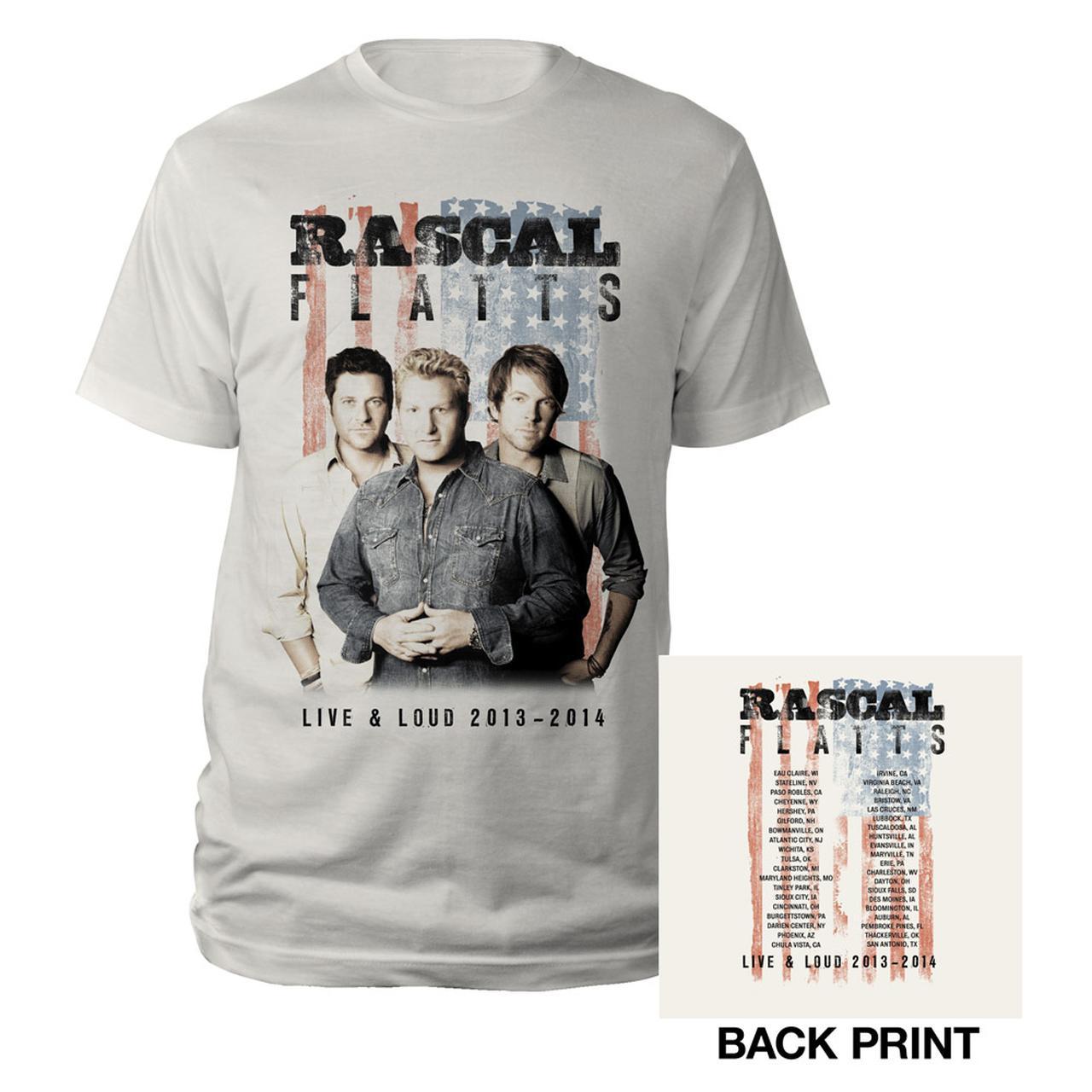 Rascal Flatts Live Loud Natrual Flag T Shirt
