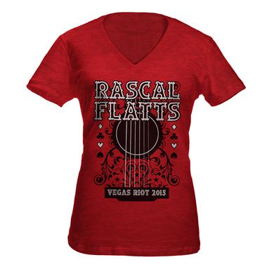 Rascal Flatts Scarlet Guitar V-Neck T-Shirt