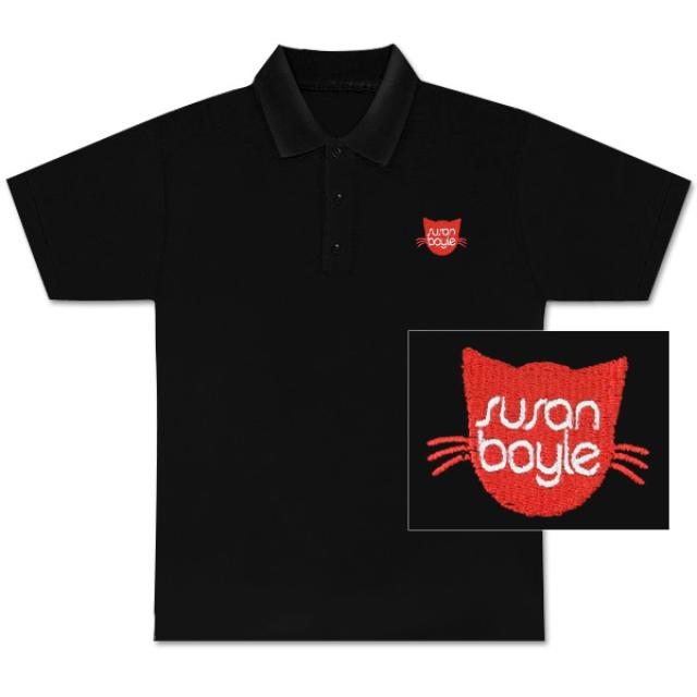 Susan Boyle Pebbles Embroidered Black Polo Shirt