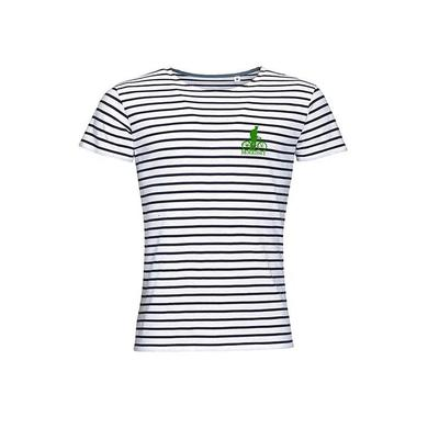 Morrissey BICYCLE EMBROIDERED GREEN MOTIF STRIPED TEE