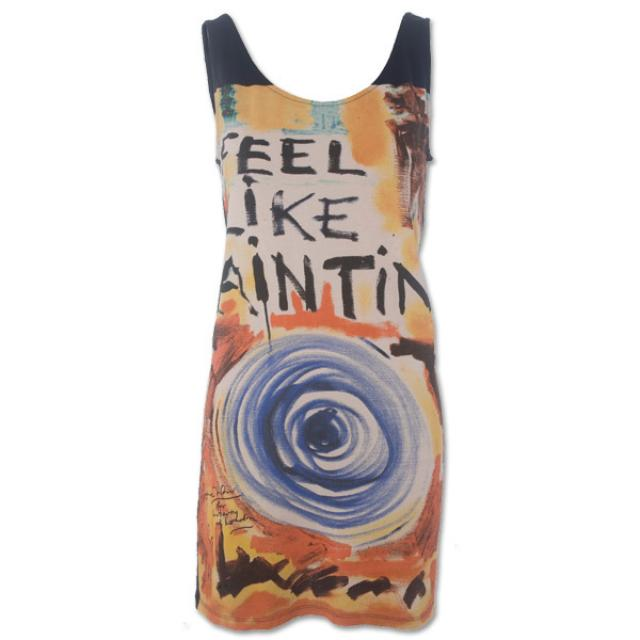 Red Feel Like Painting Vest Dress, Ronnie Wood for Liberty of London