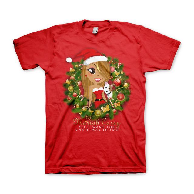 Mariah Carey Xmas Wreath Cartoon T-Shirt