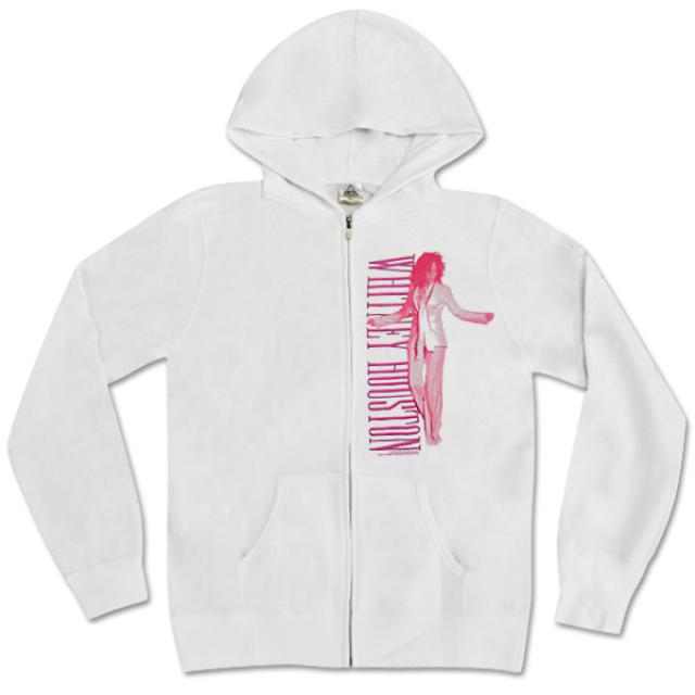 Whitney Houston Silhouette White Zip Hoodie