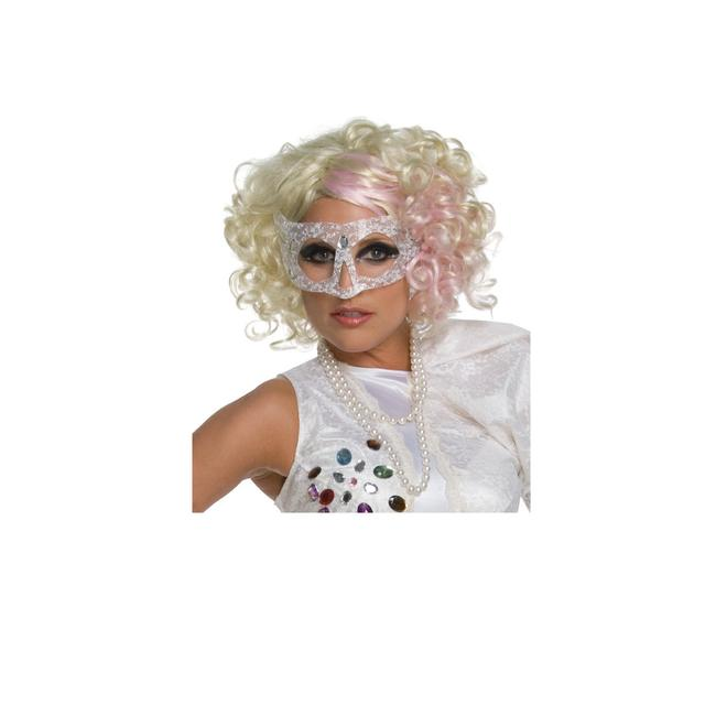 Lady Gaga Curly Blonde Wig with Pink Accents