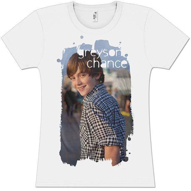 Greyson Chance Blue Strokes Photo Girlie T-Shirt